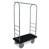 CSL 2000BK-020 Chrome Finish Bellman's Cart with Rectangular Black Carpet Base, Black Bumper, Clothing Rail, and 8 inch Gray Pneumatic Casters - 43 inch x 23 inch x 72 1/2 inch