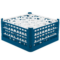 Vollrath 52708 Signature Lemon Drop Full-Size Royal Blue 20-Compartment 8 1/2 inch XX-Tall Glass Rack