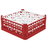 Vollrath 52707 Signature Lemon Drop Full-Size Red 20-Compartment 7 11/16 inch X-Tall Plus Glass Rack