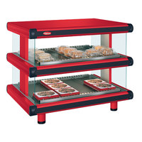 Hatco GR2SDH-24D Warm Red Glo-Ray Designer 24 inch Horizontal Double Shelf Merchandiser - 120V