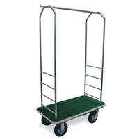 CSL 2000GY-010 Chrome Finish Bellman's Cart with Rectangular Green Carpet Base, Gray Bumper, Clothing Rail, and 8 inch Black Pneumatic Casters - 43 inch x 23 inch x 72 1/2 inch