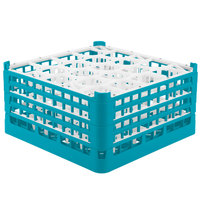 Vollrath 52708 Signature Lemon Drop Full-Size Light Blue 20-Compartment 8 1/2 inch XX-Tall Glass Rack