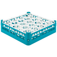 Vollrath 52693 Signature Lemon Drop Full-Size Light Blue 20-Compartment 4 5/16 inch Medium Glass Rack
