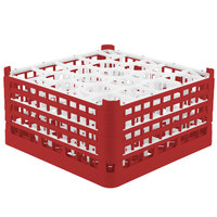Vollrath 52708 Signature Lemon Drop Full-Size Red 20-Compartment 8 1/2 inch XX-Tall Glass Rack