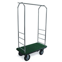 CSL 2000BK-010 Chrome Finish Bellman's Cart with Rectangular Green Carpet Base, Black Bumper, Clothing Rail, and 8 inch Black Pneumatic Casters - 43 inch x 23 inch x 72 1/2 inch