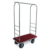 CSL 2000GY-010 Chrome Finish Bellman's Cart with Rectangular Red Carpet Base, Gray Bumper, Clothing Rail, and 8 inch Black Pneumatic Casters - 43 inch x 23 inch x 72 1/2 inch