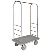 CSL 2000GY-050 Chrome Finish Bellman's Cart with Rectangular Gray Carpet Base, Gray Bumper, Clothing Rail, and 8 inch Gray Polyurethane Casters - 43 inch x 23 inch x 72 1/2 inch