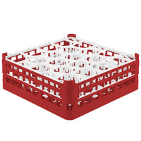 Vollrath 52703 Signature Lemon Drop Full-Size Red 20-Compartment 5 11/16 inch Tall Glass Rack