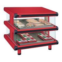 Hatco GR2SDS-30D Warm Red Glo-Ray Designer 30 inch Slanted Double Shelf Merchandiser