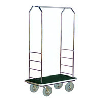CSL 2000GY-020 Chrome Finish Bellman's Cart with Rectangular Green Carpet Base, Gray Bumper, Clothing Rail, and 8 inch Gray Pneumatic Casters - 43 inch x 23 inch x 72 1/2 inch