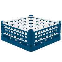 Vollrath 52712 Signature Full-Size Royal Blue 25-Compartment 7 1/8 inch X-Tall Glass Rack