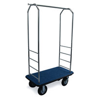 CSL 2000BK-010 Chrome Finish Bellman's Cart with Rectangular Blue Carpet Base, Black Bumper, Clothing Rail, and 8 inch Black Pneumatic Casters - 43 inch x 23 inch x 72 1/2 inch