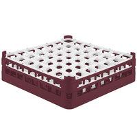Vollrath 52722 Signature Full-Size Burgundy 49-Compartment 4 5/16 inch Medium Glass Rack