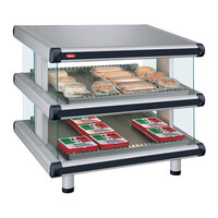 Hatco GR2SDS-60D White Granite Glo-Ray Designer 60 inch Slanted Double Shelf Merchandiser