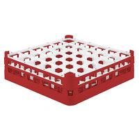 Vollrath 52714 Signature Full-Size Red 36-Compartment 4 5/16 inch Medium Glass Rack