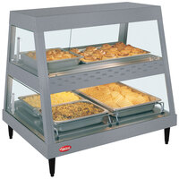 Hatco GRHDH-2PD Gray Granite Stainless Steel Glo-Ray 33 3/8 inch Full Service Dual Shelf Merchandiser with Humidity Chamber