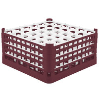 Vollrath 52717 Signature Full-Size Burgundy 36-Compartment 8 1/2 inch XX-Tall Glass Rack