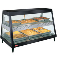 Hatco GRHDH-3PD Black Stainless Steel Glo-Ray 46 3/8 inch Full Service Dual Shelf Merchandiser with Humidity Chamber