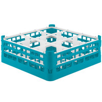 Vollrath 52728 Signature Full-Size Light Blue 9-Compartment 5 11/16 inch Tall Glass Rack