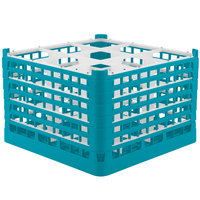 Vollrath 52736 Signature Full-Size Light Blue 9-Compartment 11 3/8 inch XXXX-Tall Glass Rack