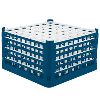 Vollrath 52735 Signature Full-Size Royal Blue 49-Compartment 9 15/16 inch XXX-Tall Glass Rack
