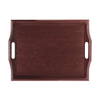GET RST-1815-M 18 inch x 14 inch Plastic Room Service Tray - Mahogany