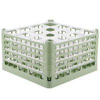 Vollrath 52732 Signature Full-Size Light Green 16-Compartment 9 15/16 inch XXX-Tall Glass Rack
