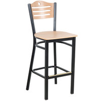 Lancaster Table &amp&#x3b; Seating Natural Finish Bar Height Bistro Chair - Eagle Back