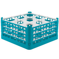 Vollrath 52729 Signature Full-Size Light Blue 9-Compartment 8 1/2 inch XX-Tall Glass Rack