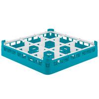 Vollrath 5276044 Signature Full-Size Light Blue 9-Compartment 3 1/4 inch Short Plus Glass Rack
