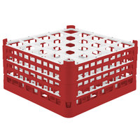 Vollrath 52776 Signature Full-Size Red 25-Compartment 9 1/16 inch XX-Tall Plus Glass Rack