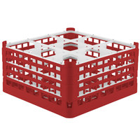 Vollrath 52764 Signature Full-Size Red 9-Compartment 9 1/16 inch XX-Tall Plus Glass Rack