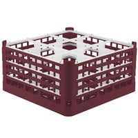 Vollrath 52764 Signature Full-Size Burgundy 9-Compartment 9 1/16 inch XX-Tall Plus Glass Rack
