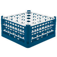 Vollrath 52776 Signature Full-Size Royal Blue 25-Compartment 9 1/16 inch XX-Tall Plus Glass Rack