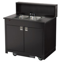 Vollrath 75672 BLACK Portable Double Bowl Hand Sink Cart 120V