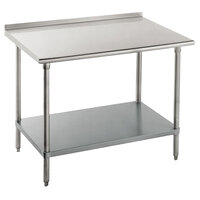 14 Gauge Advance Tabco FLG-243 24 inch x 36 inch Stainless Steel Commercial Work Table with Undershelf and 1 1/2 inch Backsplash