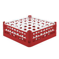 Vollrath 52780 Signature Full-Size Red 36-Compartment 6 1/4 inch Tall Plus Glass Rack