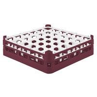 Vollrath 52779 Signature Full-Size Burgundy 36-Compartment 4 13/16 inch Medium Plus Glass Rack