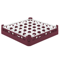 Vollrath 52778 Signature Full-Size Burgundy 36-Compartment 3 1/4 inch Short Plus Glass Rack