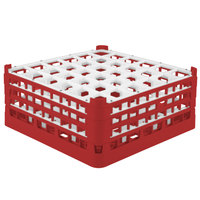 Vollrath 52781 Signature Full-Size Red 36-Compartment 7 11/16 inch X-Tall Plus Glass Rack