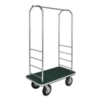 CSL 2099GY-010 Stainless Steel Finish Bellman's Cart with Rectangular Green Carpet Base, Gray Bumper, Clothing Rail, and 8 inch Black Pneumatic Casters - 43 inch x 23 inch x 72 1/2 inch