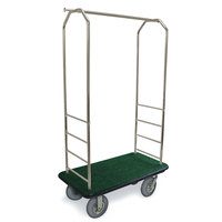 CSL 2099BK-040 Stainless Steel Finish Bellman's Cart with Rectangular Green Carpet Base, Black Bumper, Clothing Rail, and 5 inch Gray Polyurethane Casters - 43 inch x 23 inch x 72 1/2 inch