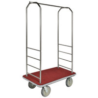CSL 2099GY-040 Stainless Steel Finish Bellman's Cart with Rectangular Red Carpet Base, Gray Bumper, Clothing Rail, and 5 inch Gray Polyurethane Casters - 43 inch x 23 inch x 72 1/2 inch