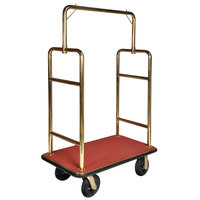 CSL 2533BK-030-RED Titanium Gold Heavy Duty Bellman's Cart with Rectangular Red Carpet Base, Black Bumper, Squared Top Clothing Rail, and 8 inch Black Pneumatic Casters - 44 inch x 24 inch x 69 inch
