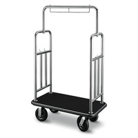 CSL 2799BK-010-BLK Stainless Steel Finish Deluxe Bellman's Cart with Rectangular Black Carpet Base, Black Bumper, Squared Top / Side Bars, and 8 inch Black Pneumatic Casters - 46 inch x 24 inch x 71 inch