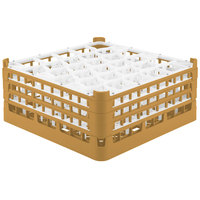 Vollrath 52832 Signature Lemon Drop Full-Size Gold 30-Compartment 7 1/8 inch X-Tall Glass Rack