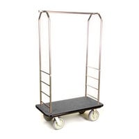CSL 2099BK-050 Stainless Steel Finish Bellman's Cart with Rectangular Gray Carpet Base, Black Bumper, Clothing Rail, and 8 inch Gray Polyurethane Casters - 43 inch x 23 inch x 72 1/2 inch