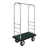 CSL 2099BK-010 Stainless Steel Finish Bellman's Cart with Rectangular Green Carpet Base, Black Bumper, Clothing Rail, and 8 inch Black Pneumatic Casters - 43 inch x 23 inch x 72 1/2 inch