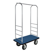 CSL 2099BK-010 Stainless Steel Finish Bellman's Cart with Rectangular Blue Carpet Base, Black Bumper, Clothing Rail, and 8 inch Black Pneumatic Casters - 43 inch x 23 inch x 72 1/2 inch