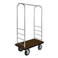 CSL 2099BK-010 Stainless Steel Finish Bellman's Cart with Rectangular Brown Carpet Base, Black Bumper, Clothing Rail, and 8 inch Black Pneumatic Casters - 43 inch x 23 inch x 72 1/2 inch